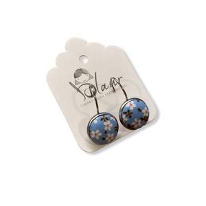 Kék virágos franciakapcsos acél alapú gombfülbevaló, Ékszer, Fülbevaló, Lógós fülbevaló, A termék megnevezése: Gomb fülbevaló.    Színei:   Mérete: a gomb átmérője 1,2cm  Acél fülbevaló ala..., Meska