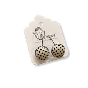 Fehér fekete pöttyös franciakapcsos acél alapú gombfülbevaló, Ékszer, Fülbevaló, Lógós fülbevaló, A termék megnevezése: Gomb fülbevaló.    Színei:   Mérete: a gomb átmérője 1,2cm  Acél fülbevaló ala..., Meska