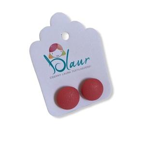 Koral Bedugós textilbőr gombfülbevaló nikkelmentes mini, Ékszer, Fülbevaló, Pötty fülbevaló, A termék megnevezése: Gomb fülbevaló.    Színei:  Mérete: a gomb átmérője 1,2 cm  Termék leírás: A f..., Meska