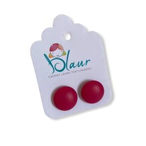 Piros Bedugós textilbőr gombfülbevaló nikkelmentes mini, Ékszer, Fülbevaló, Pötty fülbevaló, A termék megnevezése: Gomb fülbevaló.    Színei:  Mérete: a gomb átmérője 1,2 cm  Termék leírás: A f..., Meska