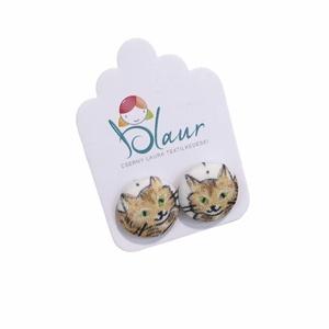 Macska / Cica mintás bedugós nikkelmentes gombfülbevaló, Ékszer, Fülbevaló, Pötty fülbevaló, A termék megnevezése: Gomb fülbevaló.    Színei:   Mérete: a gomb átmérője 1,6 cm  Nikkelmentes fülb..., Meska