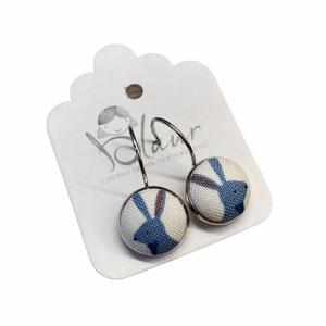 Nyúl franciakapcsos gombfülbevaló, Ékszer, Fülbevaló, Lógó fülbevaló, A termék megnevezése: Gomb fülbevaló.    Mérete: a gomb átmérője 1,2cm  Termék leírás: A fülbevalók ..., Meska