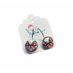 Pillangó franciakapcsos gombfülbevaló, Ékszer, Fülbevaló, Lógó fülbevaló, A termék megnevezése: Gomb fülbevaló.    Mérete: a gomb átmérője 1,2cm  Termék leírás: A fülbevalók ..., Meska