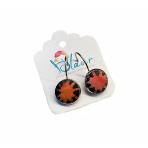 Virág mintás franciakapcsos gombfülbevaló, Ékszer, Fülbevaló, Lógó fülbevaló, A termék megnevezése: Gomb fülbevaló.    Mérete: a gomb átmérője 1,2cm  Termék leírás: A fülbevalók ..., Meska