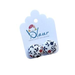 Piros kék virágos bedugós nikkelmentes gombfülbevaló, Ékszer, Fülbevaló, Pötty fülbevaló, Ékszerkészítés, Meska