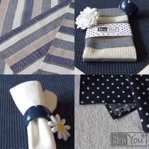 VintageHome - asztali szett, asztalközéppel, textilszalvétával és szalvétagyűrűvel (Blessyou) - Meska.hu