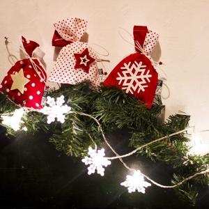 Piros fehér pöttyös Mikulás zsákok - karácsonyi ajándékzsák (Blessyou) - Meska.hu