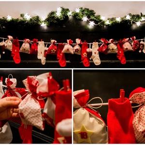 INGYEN POSTA! PIROS-FEHÉR újrahasznosítható adventi naptár zsákokkal és zoknikkal, Otthon & Lakás, Karácsony & Mikulás, Adventi naptár, Varrás, INGYENES POSTA\n\nKlasszikus igazi karácsonyi színekben, piros-fehérben készült adventi kalendárium! \n..., Meska
