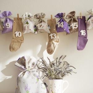 LEVENDULÁS ADVENTI kalendárium, zsákokkal és zoknikkal, Karácsony & Mikulás, Adventi naptár, Varrás, INGYENES POSTA\n\nLevendulás is, lila is, bézs is, pöttyös is:)\nEgyszóval ha kedveled a levendulás stí..., Meska