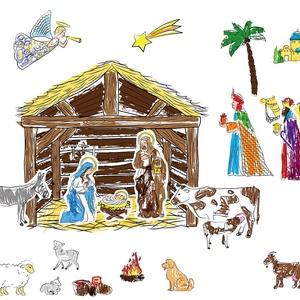 Karácsonyi, adventi színező gyerekeknek - Betlehemi jelenet, Dekoráció, Otthon & lakás, Ünnepi dekoráció, Karácsony, Adventi naptár, NoWaste, Gyerek & játék, Fotó, grafika, rajz, illusztráció, Gyűjtsétek napról napra a Betlehemi jelenet figuráit, és készítsetek helyet karácsonyra a Kis Jézus ..., Meska