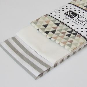 Geometria mintás pamut zsebkendő - minimál, Férfiaknak, NoWaste, Textilek, Kendő, A lakberendezés szerelmeseinek, építészeknek, tervezőknek készítettem ezt a szürke és fehér színössz..., Meska