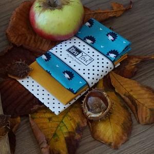 ÚJ! Cuki sünik az őszi erdőben, Táska, Divat & Szépség, NoWaste, Textilek, Kendő, Gyerek & játék, Szépség(ápolás), Varrás, Hímzés, Az ősz gyönyörű színeiben pompázik ez a puha zsebkendő szett. Próbáld ki, meglátod kedvenc kiegészít..., Meska