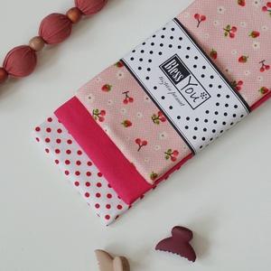 Eprek és cseresznyék - pink, rózsaszín, piros - ajándék kislányoknak, NoWaste, Textilek, Kendő, Gyerek & játék, Baba-mama kellék, Varrás, Hímzés, Környezetbarát ajándékkal szeretnéd meglepni a család legkisebb HÖLGYtagját? Akkor ezzel az epres - ..., Meska