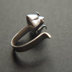 Origami tulipán gyűrű, Ékszer, Gyűrű, Ékszerkészítés, Ötvös, Sterling ezüst \nOrigami tulipán gyűrű\nmérete állítható, Meska