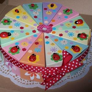 Pénzajándék átadó torta - katicás virágos rét, közepes, Esküvő, Esküvői dekoráció, Nászajándék, Papírművészet, Katica rajongók, szivárvány kedvelők, kislányok örömére!\n\nMesés, elegáns, romantikus party torta, pé..., Meska