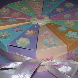 Pénzajándék átadó torta - pasztell közepes, Nászajándék, Emlék & Ajándék, Esküvő, Papírművészet, Szülinapra, névnapra, ballagásra, nászajándék átadására, bármilyen alkalomra érdekes meglepetés. 20 ..., Meska