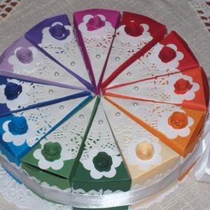 Pénzajándék átadó torta - szivárványos mini, Esküvő, Nászajándék, Papírművészet, Nem hizlal, garantáltan diétás, minden barátnő örömmel fogadja! :) \n\nSpirituális érdeklődésű hölgyek..., Meska