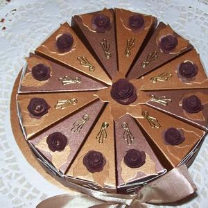 Pénzajándék átadó torta - csokoládé, mini, Férfiaknak, Esküvő, Nászajándék, Papírművészet, Elegáns, romantikus party torta, pénzajándék átadó torta négerbarna-bronzbarna  gyöngyházfényű alapk..., Meska