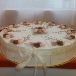 Pénzajándék átadó torta - nászajándék átadó, extra nagy, Esküvő, Nászajándék, Esküvői dekoráció, Papírművészet, Elegáns, romantikus party torta,  extra nagy,  nászajándék átadására színben hozzáillő szatén szalag..., Meska