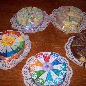 Pénzajándék átadó torta mini, Nászajándék, Emlék & Ajándék, Esküvő, Papírművészet, Nem hizlal, garantáltan diétás, minden barátnő örömmel fogadja! :) \n\n 15 cm átmérőjű, 12 szeletes pa..., Meska