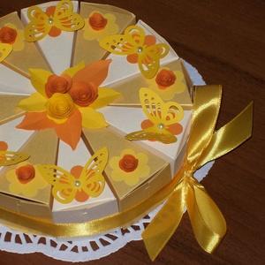 Pénzajándék átadó torta- narancs, mini, Nászajándék, Emlék & Ajándék, Esküvő, Papírművészet, Elegáns, romantikus party torta, pénzajándék átadó torta pezsgő-arany  gyöngyházfényű alapkartonból,..., Meska