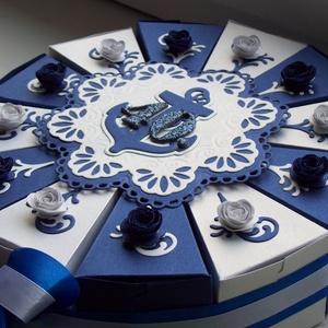 Pénzajándék átadó torta - tengerész, közepes, Nászajándék, Emlék & Ajándék, Esküvő, Papírművészet, Ez a torta a hajózás szerelmesének készült  40. születésnapjára. \nElegáns, romantikus party torta, p..., Meska