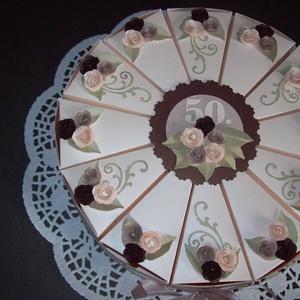 Pénzajándék átadó torta - jubileumra, extra nagy, Nászajándék, Emlék & Ajándék, Esküvő, Papírművészet, 30 cm átmérőjű, extra nagy jubileumi torta, 50. születésnapra készült. \nElegáns, romantikus party to..., Meska