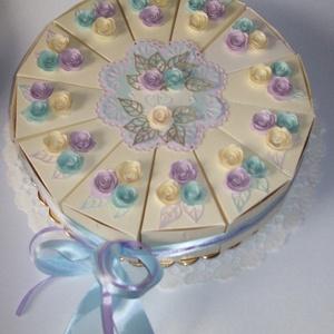 Pénzajándék átadó torta- hortenzia színekben, közepes , Esküvő, Nászajándék, Esküvői dekoráció, Papírművészet, Elegáns, romantikus party torta, pénzajándék átadó torta pezsgőszínű gyöngyházfényű alapkartonból, h..., Meska