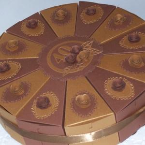 Pénzajándék átadó torta- aranycsokoládé, közepes, Esküvő, Nászajándék, Emlék & Ajándék, Papírművészet, Meska