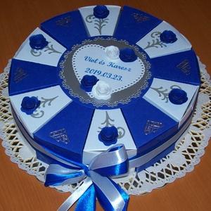 Pénzajándék átadó torta, közepes -királykék-fehér, Esküvő, Nászajándék, Papírművészet, Nászajándék átadására rendelt indigókék-fehér színösszeállítású, 20 cm -es átmérőjű party torta, de ..., Meska