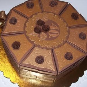 Pénzajándék átadó torta - csoki-óarany, közepes, Ajándékkísérő, Papír írószer, Otthon & Lakás, Papírművészet, Elegáns, romantikus csokoládé-óarany gyöngyházfényű kartonból készített party torta  pénzajándék áta..., Meska