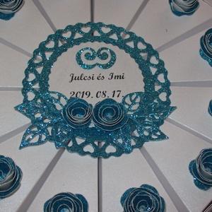 Pénzajándék átadó torta - türkiz, mini, Esküvő, Nászajándék, Papírművészet, Elegáns, romantikus party torta, pénzajándék átadó torta fehér gyöngyházfényű alapkartonból, türkiz ..., Meska