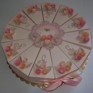 Pénzajándék átadó torta- barackvirág,nagy, Nászajándék, Emlék & Ajándék, Esküvő, Papírművészet, Elegáns, romantikus party torta, pénzajándék átadó torta barack színű gyöngyházfényű alapkartonból, ..., Meska