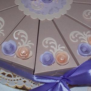 Pénzajándék átadó torta - púder-levendula, közepes, Esküvő, Nászajándék, Emlék & Ajándék, Papírművészet, Meska