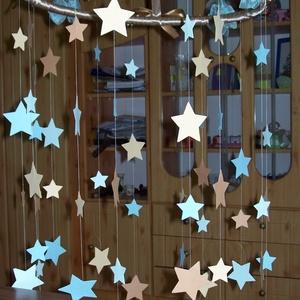 Babaszoba körforgó- kék-kapucsínó, csillagos, Kiságyforgó, 3 éves kor alattiaknak, Játék & Gyerek, Papírművészet, A babaszoba központi helyének dekorációja lehet ez a gyönyörű pasztell kék-kapucsínó mobildísz. \nLát..., Meska