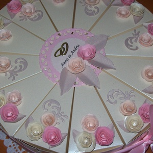 Pénzajándék átadó torta, pezsgő-barack, közepes, Esküvő, Esküvői dekoráció, Nászajándék, Papírművészet, Elegáns, romantikus party torta, pénzajándék átadó torta pezsgő színű gyöngyházfényű alapkartonból, ..., Meska