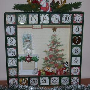 Adventi kalendárium- karácsonyi szobabelső , Adventi naptár, Karácsony & Mikulás, Otthon & Lakás, Festett tárgyak, Tovatűnt gyermekkorunkat idézi ez a szobabelsőt ábrázoló adventi kalendárium. \nMeghitt karácsony est..., Meska