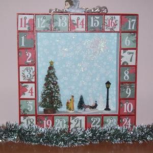 Adventi kalendárium - életkép a  parkban, Adventi naptár, Karácsony & Mikulás, Otthon & Lakás, Festett tárgyak, A múlt század elejét megidéző  romantikus életkép adventi kalendáriumon, havas téli este kint  a par..., Meska