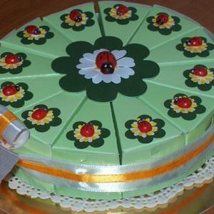 Pénzajándék átadó torta - katicás, mini, Otthon & Lakás, Ajándékkísérő, Papír írószer, Papírművészet, Meska