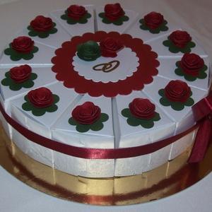 Pénzajándék átadó torta- nemzeti színekben, Nászajándék, Emlék & Ajándék, Esküvő, Papírművészet, Elegáns, romantikus party torta, pénzajándék átadó torta magyaros esküvőhöz, fehér gyöngyházfényű fe..., Meska