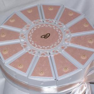 Fehér-barack nászajándék átadó torta , Nászajándék, Emlék & Ajándék, Esküvő, Papírművészet, Fehér-barack nászajándék átadó torta - visszafogottan elegáns, dombormintás gyöngyházfényű dekoráció..., Meska