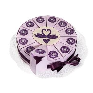 Pénzajándék átadó torta- lila, hattyús, Esküvő, Esküvői dekoráció, Nászajándék, Papírművészet,  Okozott már fejtörést, hogyan add át stílusosan a nászajándékot? A zavarba ejtő, borítékkal ügyetle..., Meska