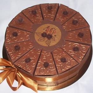Pénzajándék átadó torta - karamell-csoki, mini, Esküvő, Nászajándék, Férfiaknak, Esküvői dekoráció, Papírművészet, Elegáns, romantikus party torta, pénzajándék átadó torta csokoládébarna-karamell színösszeállításban..., Meska