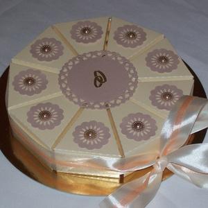 Pénzajándék átadó torta- krém-púder, mini, Esküvő, Nászajándék, Esküvői dekoráció, Papírművészet, Okozott már fejtörést, hogyan add át stílusosan a pénzajándékot esküvőn, születésnapon, diplomaátadó..., Meska