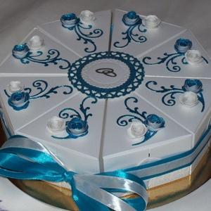 Nászajándék átadó torta: fehér-türkiz-ezüst, Nászajándék, Emlék & Ajándék, Esküvő, Papírművészet, Elegáns, romantikus party torta, pénzajándék átadó torta fehér gyöngyházfényű alapkartonból, glitter..., Meska
