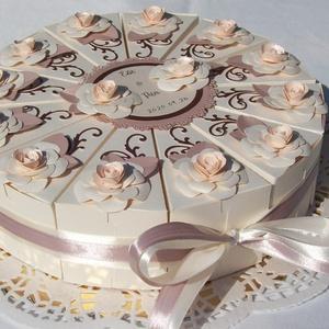 Nászajándék átadó torta -krém-golden rose-barack-csoki, Nászajándék, Emlék & Ajándék, Esküvő, Papírművészet, Elegáns, romantikus nászajándék átadó torta, pénzajándék, vagy apró ajándék átadására. Krém gyöngyhá..., Meska