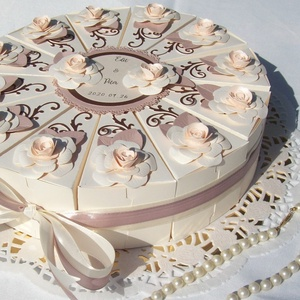 Nászajándék átadó torta -krém-golden rose-barack-csoki - Meska.hu