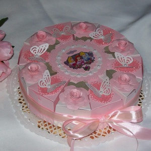 Ovis kínáló torta- rózsaszín-barack-pink, Disney hercegnős, Díszdoboz, Dekoráció, Otthon & Lakás, Papírművészet, Bűbájos, kislányos, hercegnős rózsaszín, pink, barack glitteres, Disney hercegnős, lepkés, gyöngyös ..., Meska