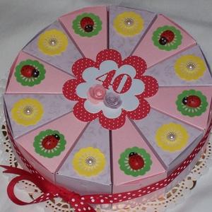 Pénzajándék átadó torta - katicás, lila-rózsaszín, Esküvő, Emlék & Ajándék, Nászajándék, Papírművészet, Katica rajongók, és az üde színek kedvelőinek örömére!\n\nPénzajándék átadó torta kicsit ezüstös rózsá..., Meska