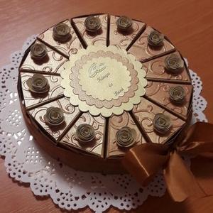 Nászajándék átadó torta arany árnyalatokban, Esküvő, Emlék & Ajándék, Nászajándék, Papírművészet, Elegáns, romantikus party torta, pénzajándék átadó torta óarany-fehér arany- réz színösszeállításban..., Meska